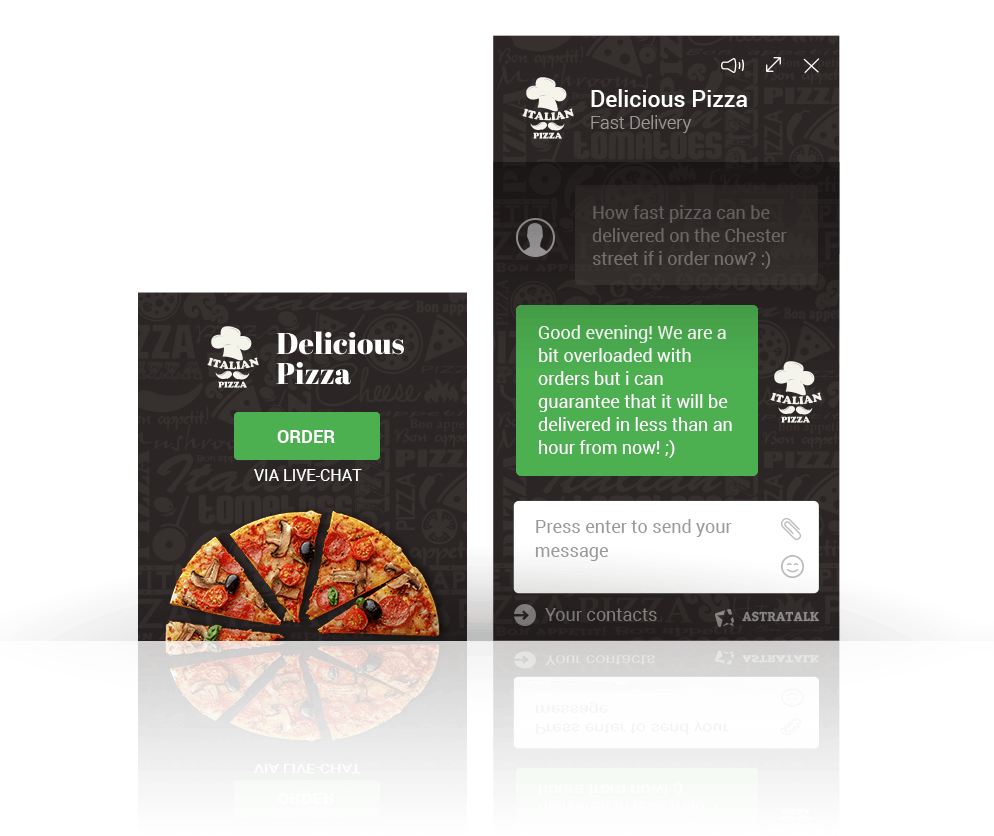 Pizza delivery live chat skin